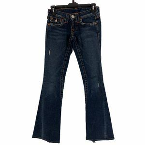 True Religion Blue Distressed Flare Jeans Size 24